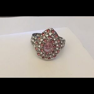 Stunning Lab Created Pink & White Sapphire Ring #8